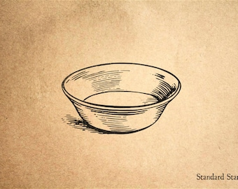 Bowl Rubber Stamp - 2 x 2 inches