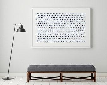 Minimalist Print, Large Wall Art, Heart Art, Navy Blue Art Print, Indigo Art, Nursery Wall Art, Minimalist Art, Nursery Print, Heart Print
