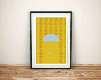 Slip Out of Those Wet Clothes & Into a Dry Martini Poster Bar Art and Kitchen Art, Umbrella Poster