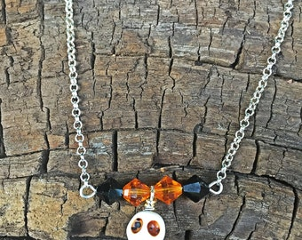 Halloween necklace,skull necklace, fall necklace, skeleton necklace, autumn necklace, halloween jewelry, skull jewelry, zombie jewelry