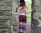 SALE Small petite upcycled patchwork leggings flares flared pants red purple black burgundy white tribalpaisley patterned festival hippie