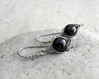 Garnet Earrings, January Birthstone Gift, Sterling Silver Wire Wrapped Gemstone Earrings, Base Chakra Stone Earrings, Gift for Her