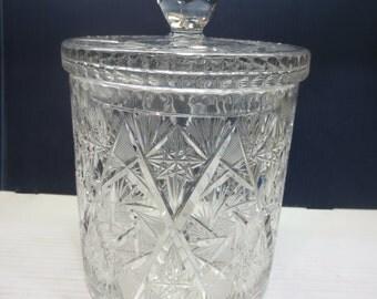 Deep Cut Crystal Pinwheel Biscuit Jar Or Cookie Jar
