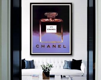 Black Violet Chanel No.5 Perfume Poster PRINTABLE FILE Andy Warhol - Chanel poster, Fashion illustration art, Dorm room art, Gift for her