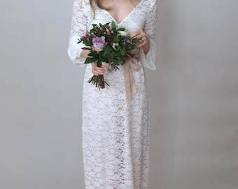 SOPHIA - Lace Raschel Bohemian Simple Bridal Gown with long sleeves - floaty & ethereal boho wedding dress lace bridal gown