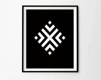 Geometric Wall Art, Black Poster, Geometric Digital Print, Black Home Decor, Black Instant Download