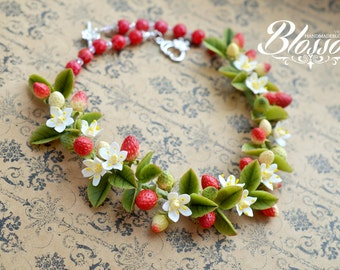 Strawberry necklace, Berries jewelry set, Red berries necklace, Strawberry jewelry, Berries wedding, Bridal accessories