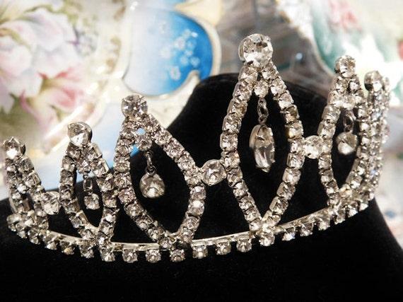 Rhinestone Tiara Wedding Bride Vintage Dangle Crystals Tiara Crown Hair Accessory Hair Comb Headpiece Headdress Jewelry Bridal Head  Band