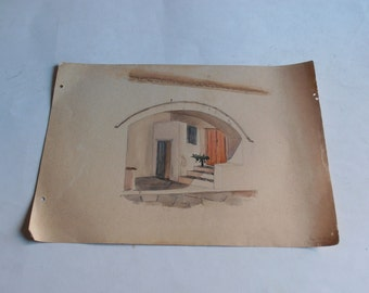 antique watercolor painting, Hydra, Cyclades, Aegean, Greece