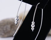Silver beads long earrings - Silver threader Earrings for her - Contemporary silver dangle earrings - threader silver modern earrings