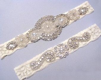 Ivory Bridal Garter Set Crystal Rhinestone Pearl Keepsake Toss Garters White