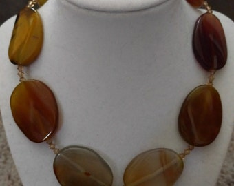 "17"" earthtone beaded necklace"
