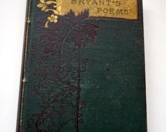 Book Antique Rare Bryant's Poems 1878