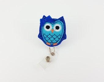 Blue & Aqua Owl - Felt Badge Reel - Nurse Badge Holder - RN Badge Reels - Retractable Badge - ID Badge Holder - Badge Clip - Name Badge Reel