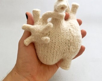 Plush Heart, Anatomical, felted, white
