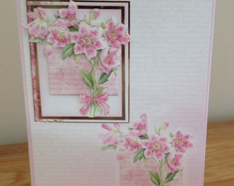 Birthday Card.  Thank You Card.  Get Well Card.  Ladies 3D Decoupage Card With A Spring Flower Bouquet And Silver & Gold Foiling