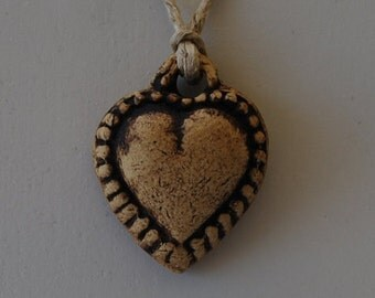 Love Heart Diffuser Pendant, stoneware, beautifully hand made and carved