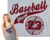 Baseball Mom Shirt Tank Top - Baseball MOM Plus Your Player Number and You Choose Glitter Color on a Cool Soft Heather Grey Ladies Tank