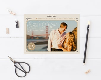 Calendar Save the Dates - Photo Save the Dates - Vintage Glam Gold & Black Save the Date Cards - Printable or Printed