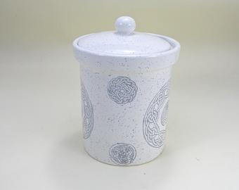 Large Storage jar kitchen canister  cookie jar biscuit jar Celtic design made to order