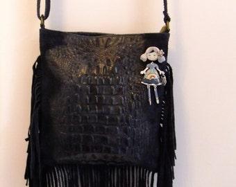 Bag leather  bag leather hand prints  handbag blue leather