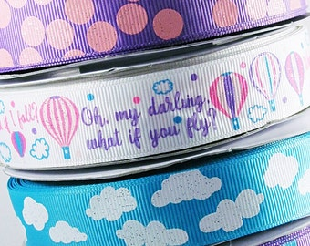 "Hot Air Balloon Hair Bow Ribbon - 7/8"" High Quality Grosgrain Ribbon - 3 YARDS - Oh, My Darling, what if you fly?"" Hot Air Balloon Clouds"