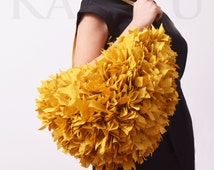 Ochre yellow taffeta woven bag with handles and shoulder strap
