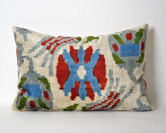 Modern Family Throw Pillows : Designer throw pillow Ikat Velvet Pillow Cover Modern Red