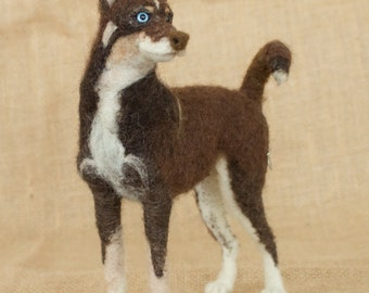 Made to Order Needle Felted Dog: Custom needle felted animal sculpture