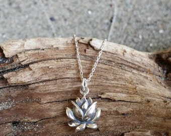 Sterling Lotus Necklace, Lotus Flower, Silver Necklace, Flower Necklace