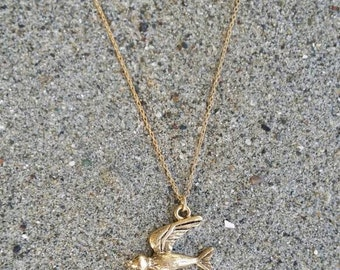 Bird Necklace, Bird Pendant, Gold Bird Necklace, Sparrow, Robin