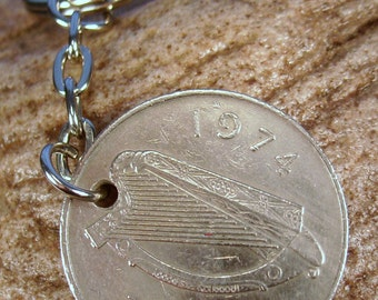 1974 Old Large 10p Ten Pence Deich bPingin Irish Coin Keyring Key Chain Fob 43rd Birthday
