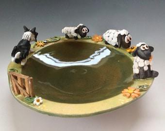 Lambs and Sheepdog Decorative Bowl , Ceramic Pottery