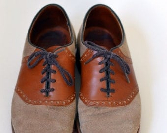 Vintage DEXTER Tan/Brown Suede/Leather Saddle Oxford Shoes Size 7.5 M Made in USA