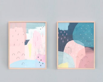 Set of 2, Abstract Art Prints, Pink and Blue Abstract Painting, Art Print Sets, Nursery Art Set, Colourful Abstract Art, Abstract Artist