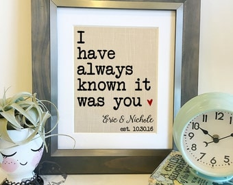 I have always known it was you | Important Dates Linen Print | Christmas Gift for Wife | Linen 4th 12th Anniversary | Frame not included