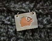 Ram Pendant - Square Contemporary Sheep Pendant - For Knitters Spinners Farmers
