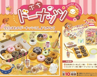 2006 / Full Set Of 10 / Re-ment / Puchi Donuts / Donuts To Go / Dollhouse Miniatures Collectibles / Candy Food Toy
