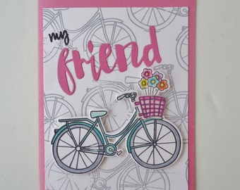 For My Friend bike greeting card - handmade - Birthday card,  aqua blue bicycle with a pink basket full of flowers, thinking of you friend.
