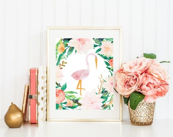 Flamingo Nursery Art, Watercolor Flamingo Print with Flowers