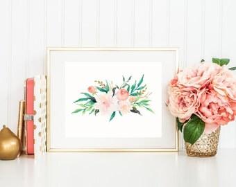 Flower Art Print, Watercolor Flower Bouquet