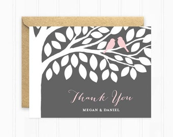 Wedding Thank You Cards, Tree Thank You Card, Wedding Stationery, Pink and Grey with Love Birds