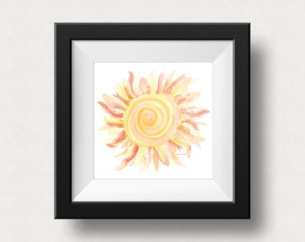 Watercolor Sun Print | Giclee Art Print | Digital Print | Sun Wall Decor