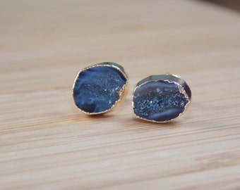 Geode Earring Electroplated in Gold: Geode Stud/Post Earrings, Geode Half Earrings, Geode Half, Geode Jewelry, Druzy, Geode Earrings, Geode