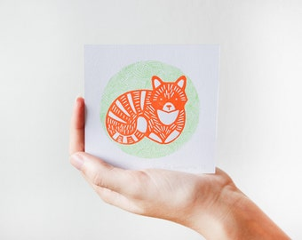 Cat Illustration Linoleumcut Print