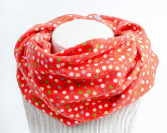 Flannel baby infinity scarf, Bright red toddler scarf, Valentine's Day Photo prop, Spotted neckwarmer, Drool catcher, Dotted cowl with snaps