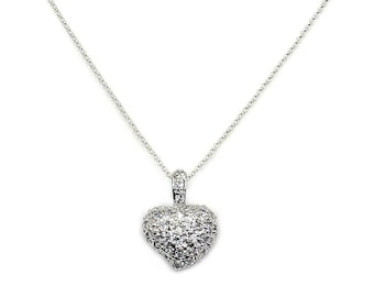 Cubic Zirconia Heart Sterling Silver Necklace  Pendant Jewelry , AA341 The Siver Plaza