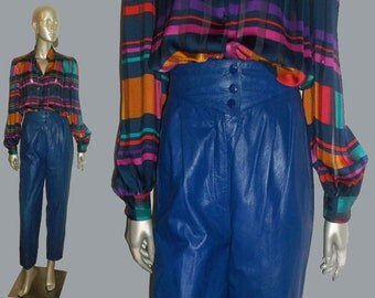 VTG West Bay Sport Leathers Top Grain Leather Blue Stylized Waistband Buttons Pockets Straight Fitted Pleated Leather High Waist Pants Sz 8