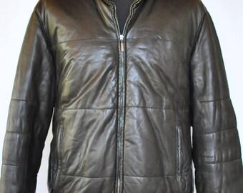 Vintage  MEN'S BOMBER leather jacket , vintage jacket ....(121)