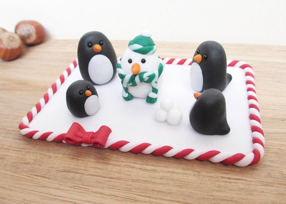 Etsy Christmas Cake Decorations : Items similar to Penguin Christmas Cake Topper / Penguin ...